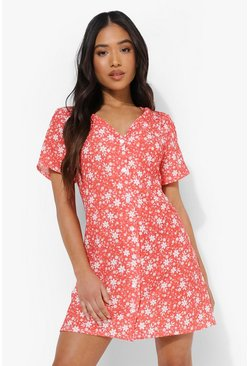 Red Petite Ditsy Woven Button Shift Dress