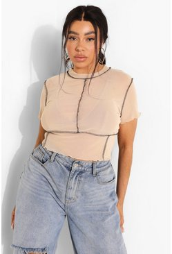 Stone beige Plus Mesh Seam Detail Crop Top