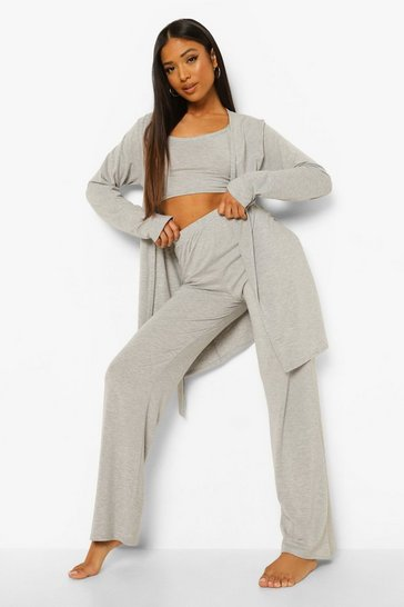 Grey marl grey Petite 3 Piece Pj Trouser Set
