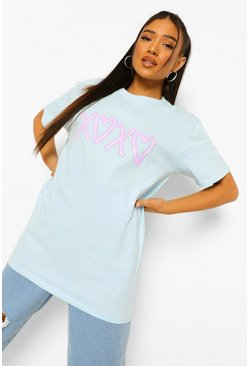 Pale blue blue Petite Hearts & Kisses Graffiti Graphic T-Shirt