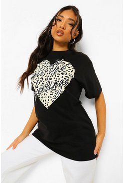 Black Petite Leopard Heart Slogan Printed T-shirt