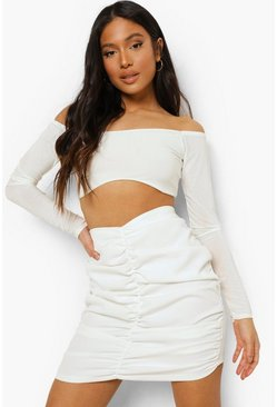 White Petite Ruched Front Mini Skirt