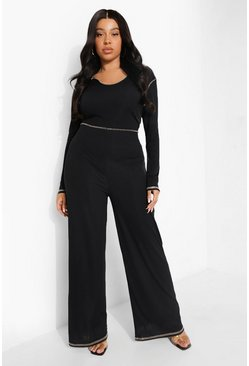 Black Plus Rib Seam Detail Jumpsuit
