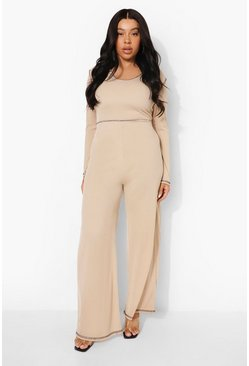 Stone beige Plus Rib Seam Detail Jumpsuit