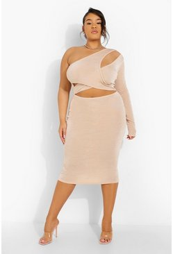 Stone beige Plus Textured Slinky Cut Out Midi Dress