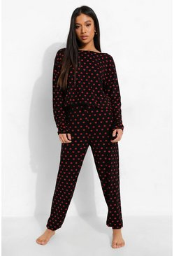 Black Petite Heart Print Pj Jogger Set