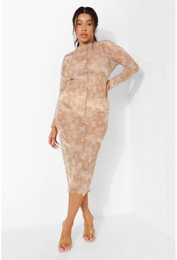 Stone beige Plus Tie Dye Mesh Exposed Seam Midaxi Dress