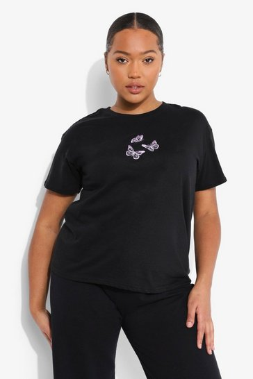 Black Plus Butterfly Embroidered T-shirt