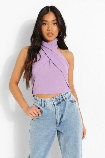 Lilac purple Purple Petite Linen Look Cross Front Halter Top