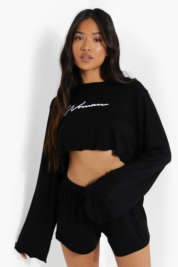 Black Petite Woman Script Pj Short Set