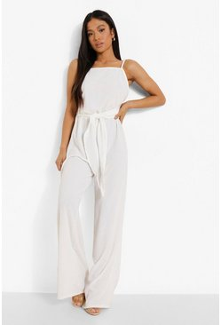Petite Linen Look Wide Leg Jumpsuit, White blanco