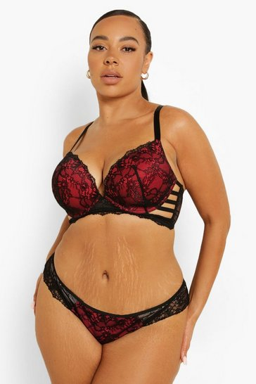 Black Plus Strapping Wing Super Push Up Bra