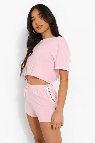 Baby pink pink Petite Woman Tape Print Pj Short Set