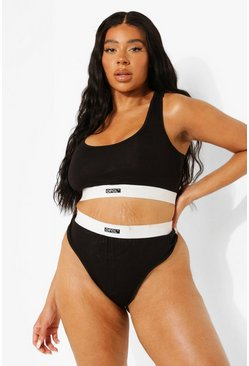 Black Plus Official Jersey Scoop Bralet + Thong Set