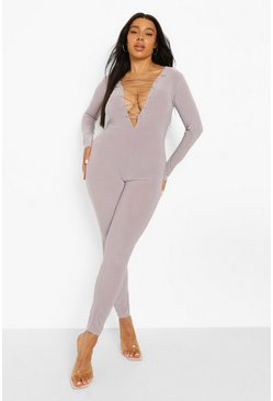 Slate grey Plus Lace Up Jumpsuit