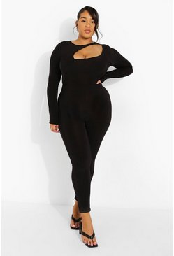 Black Plus Cut Out Long Sleeve Jumpsuit