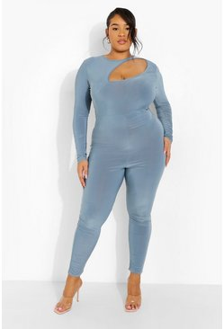 Slate blue blue Plus Cut Out Long Sleeve Jumpsuit