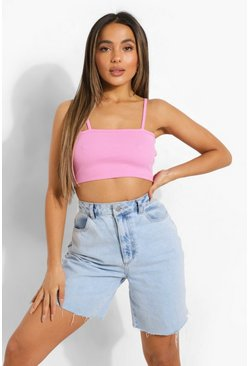 Pink Petite Premium Rib Square Neck Crop Top