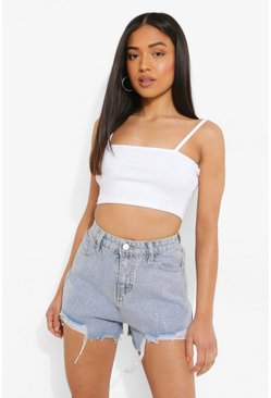 White Petite Premium Rib Square Neck Crop Top