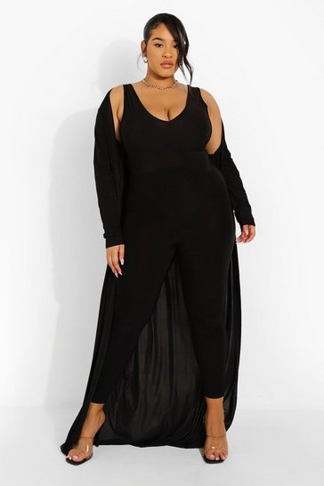 Plus Plunge Jumpsuit And Duster Set