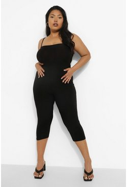 Black Plus Strappy 3/4 Unitard