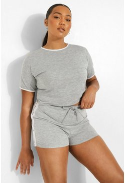 Plus Woman Lounge Short Set, Grey grigio