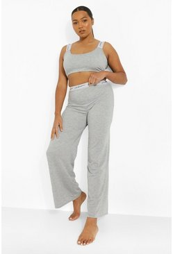 Pijama de pierna ancha con cinta Woman Plus, Gris