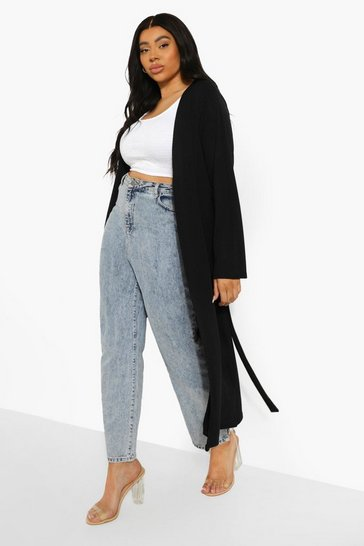 Black Plus Ribbed Tie Waist Duster
