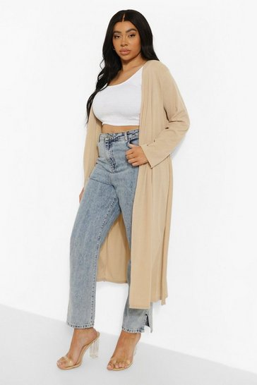 Stone beige Plus Ribbed Tie Waist Duster