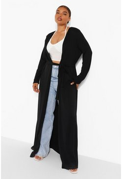 Black Plus Ribbed Tie Waist Maxi Duster