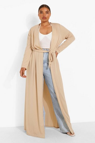 Stone beige Plus Ribbed Tie Waist Maxi Duster