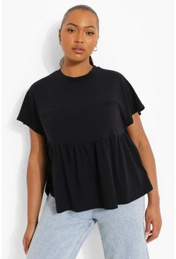 Plus Soft Rib Peplum Top, Black nero
