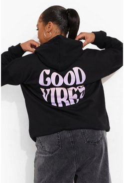 Black Plus Good Vibes Graphic Hoodie
