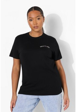 Black Plus Self Care Pocket Print T-shirt