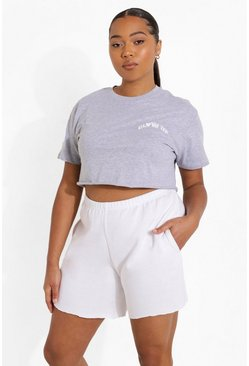 Grey marl grey Plus Glow Up Embroidered Cropped T-shirt
