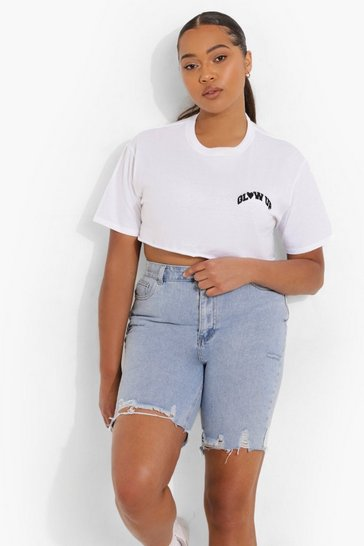 White Plus Glow Up Embroidered Cropped T-Shirt