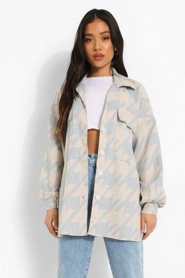 Pale blue blue Petite Dogtooth Print Oversized Shacket