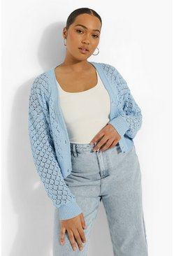 Baby blue blue Plus Knitted Pointelle Cropped Cardigan