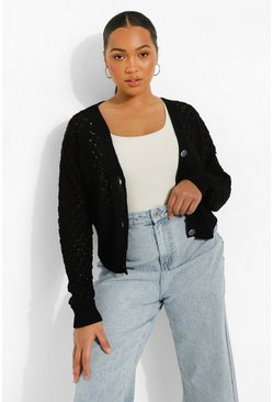 Black Plus Knitted Pointelle Cropped Cardigan