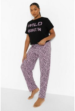 Pijama Wild Night leopardato Plus, Viola