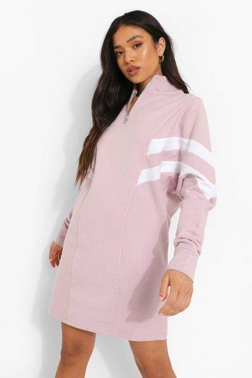 Lilac purple Petite Colour Block Half Zip Sweatshirt Dress