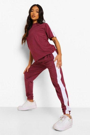 Burgundy red Petite Stripe T-shirt Tracksuit