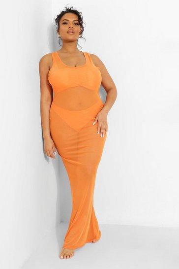 Orange Plus Tropicana Racer Front Mesh Beach Dress