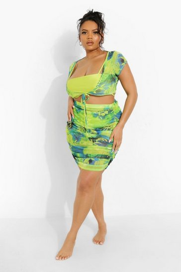 Blue Plus Tropicana Mesh Beach Skirt Co-ord