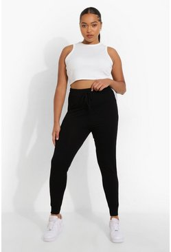 Black Plus Contrast Colour Block Cuffed Legging