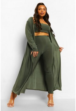 Khaki Plus 3 Piece Bandeau And Legging Set