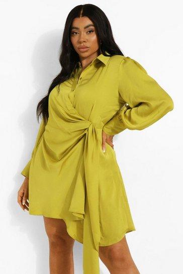 Chartreuse yellow Plus Statement Draped Satin Shirt Dress