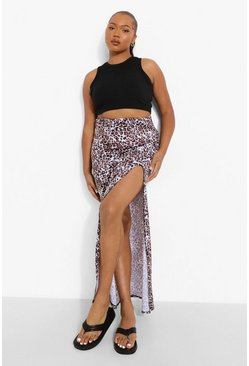 Plus Leopard Side Split Maxi