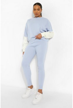 Light blue blue Plus Knitted Colour Block Tracksuit