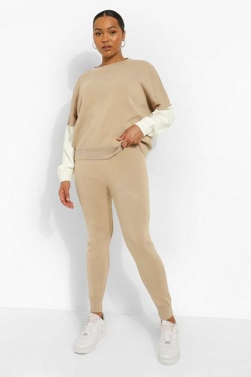 Stone beige Plus Knitted Colour Block Tracksuit